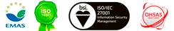 logos de las certificaciones emas, ohsas bsi e iso